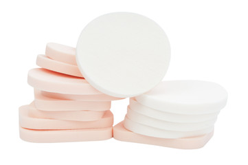 Cosmetic sponges isolated on white with clipping path.