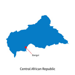Map of Central African Republic and capital city Bangui