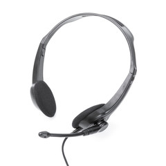 Headphones with mic on white background.
