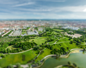 Aerial view of Olympiapark, Munich, Germany