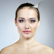 Anti-aging concept. Portrait of beautiful woman with problem and