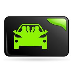 covoiturage sur bouton web rectangle vert
