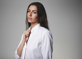 Attractive female model wearing shirt