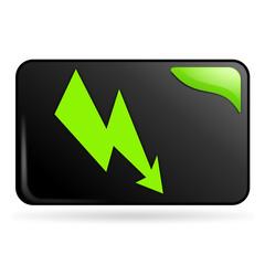 électrique sur bouton web rectangle vert