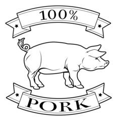 Pork 100 percent label
