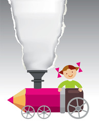 Little girl on the crayon locomotive.