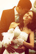 young wedding couple, beautiful bride with groom with pigeons, t