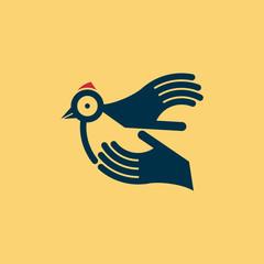 fly of bird to hand. creative idea