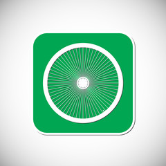 Bicycle wheel icon. Green Square Frame. Vector Illustration