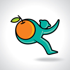 Fitness man running and hold a orange fruit
