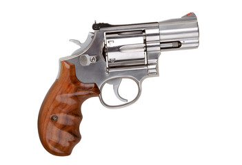 Modern semiautomatic hand gun (revolver), isolated on white.