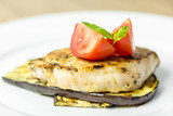 Grilled Aubergine Slice With Pork Steak And Sliced Tomatoes