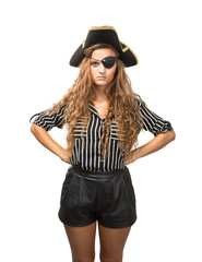 pirate woman in white background waiting