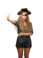 pirate show rude middle finger in white background