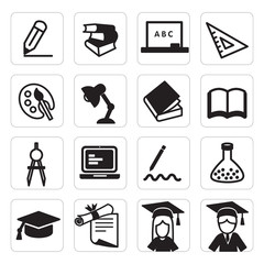 set of  icon education