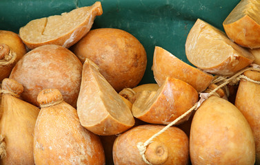 forms of CACIOCAVALLO CHEESE sold at local market
