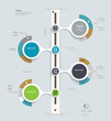 Timeline Infographics template. Step by step number options
