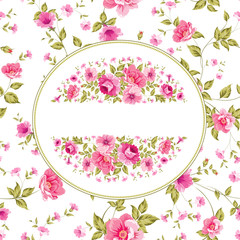 Floral pattern with branch of roses in oval label.