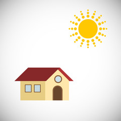 Sun and house. Vector Illustration