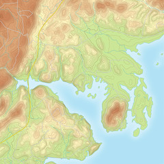 Colored Coastal Topographic Map
