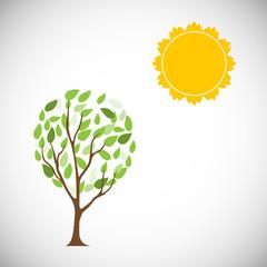 Sun and tree. Vector Illustration