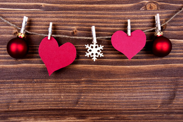 Empty Heart Tags and Christmas Decoration on a Label