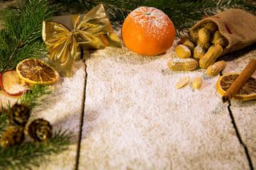 christmas fruits on a sugared table