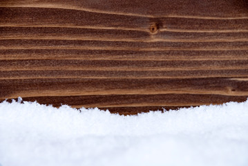 Snow and Wood as Winter Background