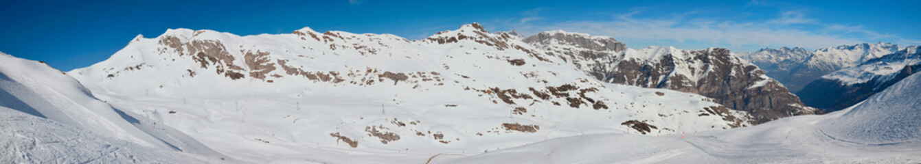 Panorama of the winter Pyrenees with pistes