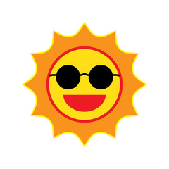 Sun smile with sunglasses on white background. Vector Illustrati