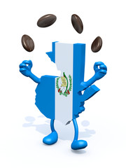 guatemala map juggler with coffee beans
