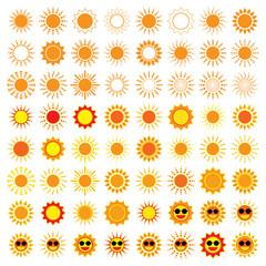 64 Sun Icons on white background
