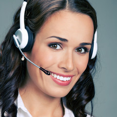 Support phone operator in headset, on gray
