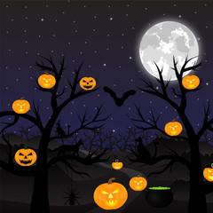 Night landscape in the full moon Halloween