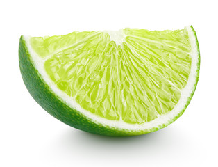 Slice of lime citrus fruit isolated on white with clipping path