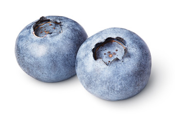 Pair of blueberry berry isolated on white with clipping path