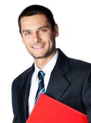 Happy smiling businessman with red folder