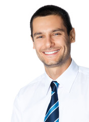 Portrait of happy smiling businessman, isolated