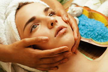 stock photo attractive lady getting spa treatment in salon,