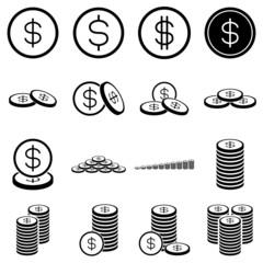Money coin icon set on white background