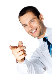 Business man pointing, isolated