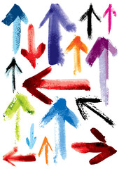 Set of grunge arrows; imitation of watercolor