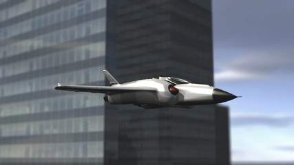 Futuristic spaceship flying in a cityscape