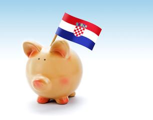 Piggy bank with national flag of Croatia