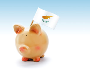 Piggy bank with national flag of Cyprus