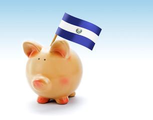Piggy bank with national flag of El Salvador