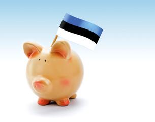 Piggy bank with national flag of Estonia