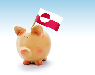 Piggy bank with national flag of Greenland