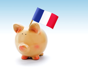 Piggy bank with national flag of France
