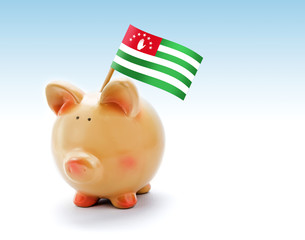 Piggy bank with national flag of Abkhazia